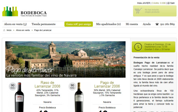 Ventas privadas de vinos