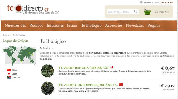 Comprar té biológico en Te Directo