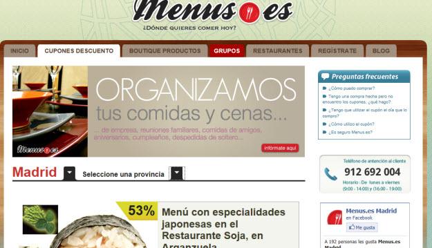 Cupones descuento en Menus.es
