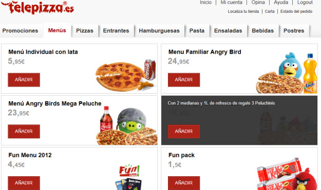 Pedir pizza en Telepizza