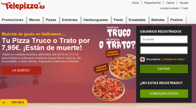 Pedir una pizza por internet