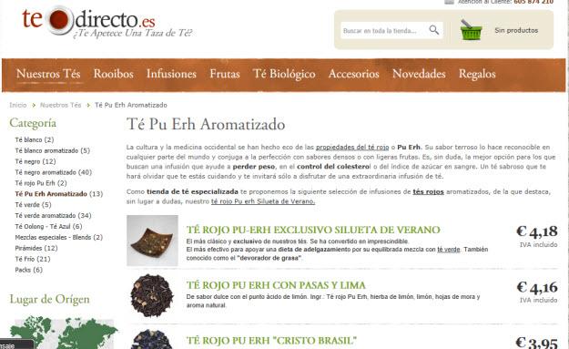 Comprar té rojo por internet en Te Directo