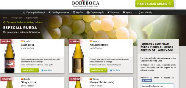 Venta privada de grandes vinos en Bodeboca