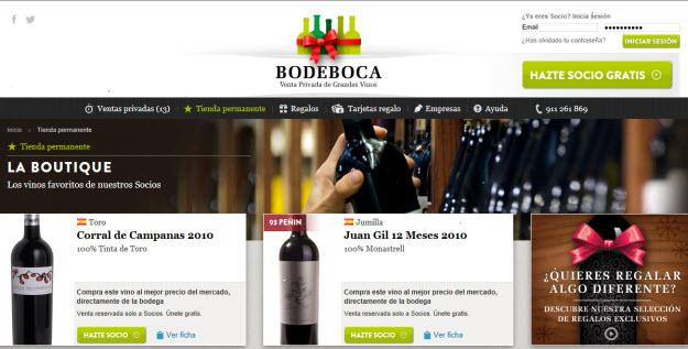 Club de ventas privadas de vinos en Bodeboca