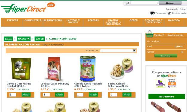 Comprar comida para mascotas en Hiperdirect