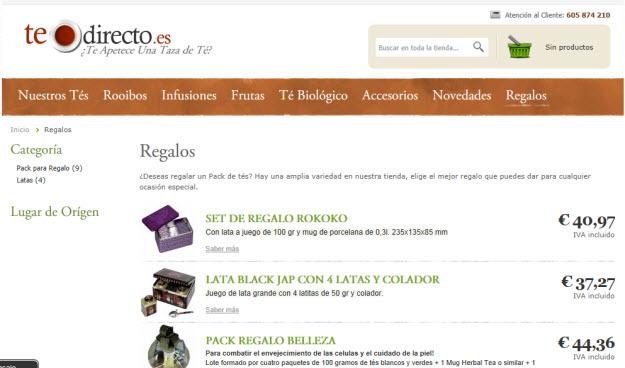 Comprar té por internet en Te Directo