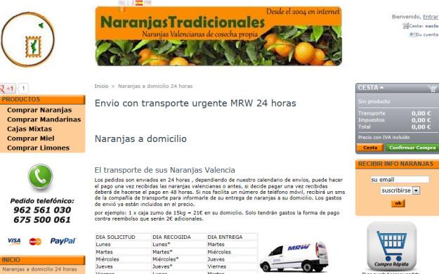 Comprar mandarinas online, condiciones de envío
