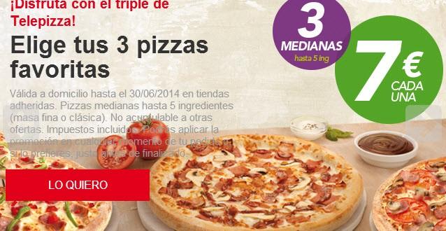 Telepizza ofertas en carta: el triple de Telepizza,martes locos y Family Days