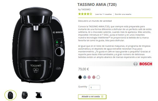 Cafetera Tassimo cápsulas