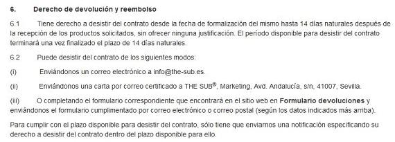 the sub envíos y devoluciones